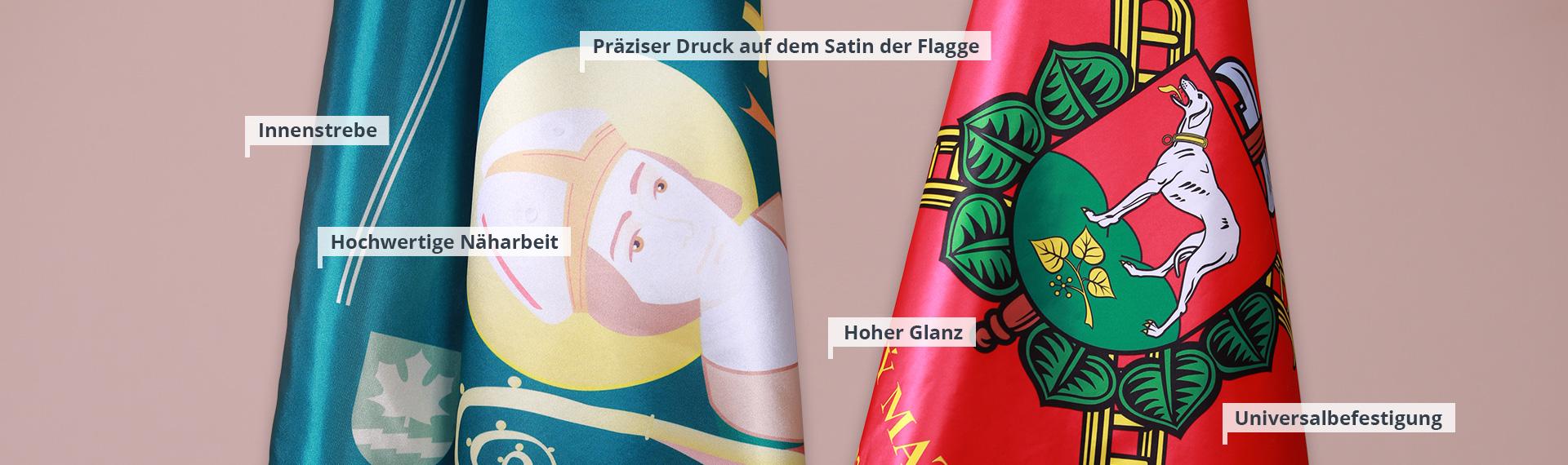 Bedruckte Fahnen und Flaggen aus Satin