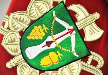 Besticktes Wappen und Fahne des Freiwilligen Feuerwehrvereins (SDH) Lovcice