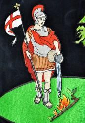 Detail der Stickerei der Fahne des Freiwilligen Feuerwehrvereins (SDH) Lhota