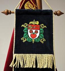 Detail des bestickten Bands des Freiwilligen Feuerwehrvereins (SDH) Světlá