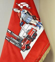 Detail einer St.-Florian-Stickerei, Fahne der Firma Unipetrol RPA