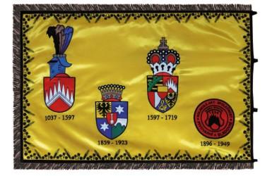 Rückseite einer bestickten Flagge aus Satin - Brauerei Černá Hora