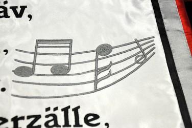 Stickereidetail Fahne für Freizeitverein.