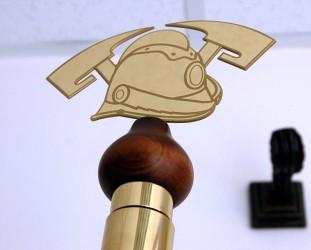 Kopfteil mit Feuerwehrhelmmotiv für Stange
