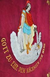 Eine Nadelmalerei, eine Stickerei des St. Florians