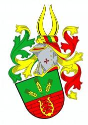 Bürgerliches Heraldik-Wappen von Herrn Stanislav Kasl, in welchem die Symbolik der Baufirma dargestellt ist