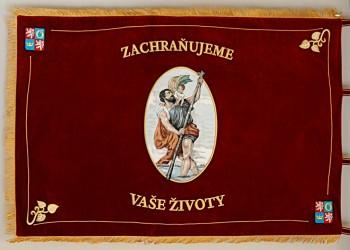 Bestickte festliche Fahne für den Rettungsdienst der Region Královéhradecký