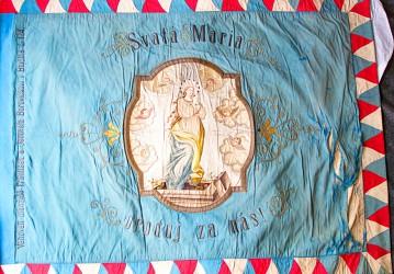 Originalfahne des Freiwilligen Feuerwehrvereins (SDH) Blučina aus dem Jahr 1906