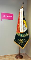 Replik der Fahne und der bedruckten Bänder des Freiwilligen Feuerwehrvereins (SDH) Novosedly