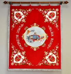 Rückseite der Fahnenreplik mit Stickerei von St.-Florian-Stickerei, Feuerwehrverein DHZ Veľké Kostoľany