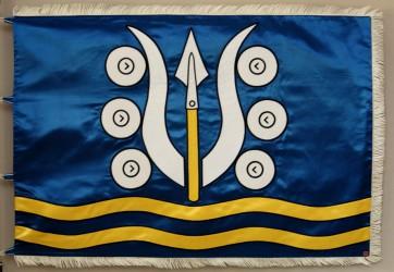 Bestickte Flagge aus Satin der Gemeinde Dlouhá Ves