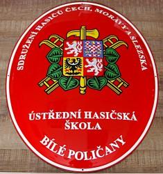 Emailliertes Oval für die Zentrale Feuerwehrschule Bílé Poličany