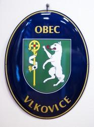 Emailliertes Oval mit dem Wappen und Namen der Gemeinde/ Stadt/ des Marktfleckens