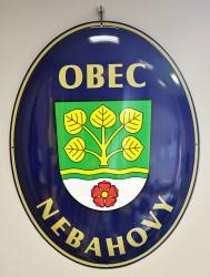 Emailliertes Oval mit Gemeindewappen und -namen