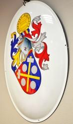 Beispiel für ein persönliches Wappen in Form eines emaillierten Ovals.