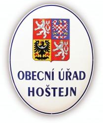 Emailliertes Oval mit dem großen Staatswappen der Tschechischen Republik und der Aufschrift GEMEINDEAMT