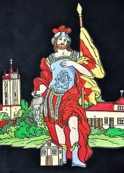 St.-Florian-Stickerei auf der Fahne des Freiwilligen Feuerwehrvereins (SDH) Podivín