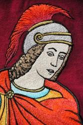 Eine Stickerei des St. Florians
