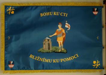 Bedruckte Fahne des Freiwilligen Feuerwehrvereins (SDH) Pletený Újezd, Rückseite