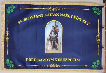 Bedruckte Fahne des Freiwilligen Feuerwehrvereins (SDH) Pěčnov