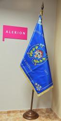 Bedruckte Fahne aus Satin des Freiwilligen Feuerwehrvereins (SDH) der Stadt Ostrov