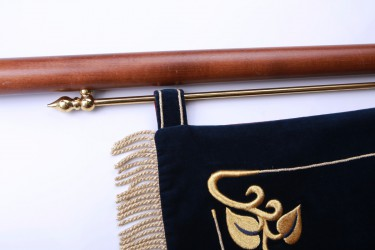 Beispiel zur Befestigung einer Fahne an zweiteiliger Basisstange mit Beschlag