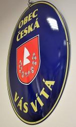 Emailliertes Begrüßungsoval mit Wappen sowie Namen der Gemeinde/der Stadt und mit Begrüßungstext