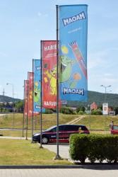 Bedruckte Werbeflaggen für die Firma Haribo