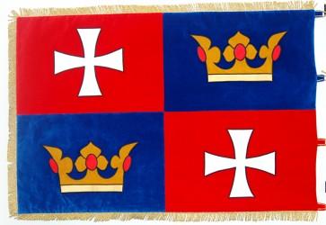 Festliche bestickte Flagge der Gemeinde Chvalšiny