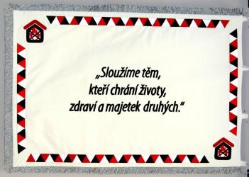 Bestickte festliche Flagge für die Firma Požární bezpečnost (Brandschutz)