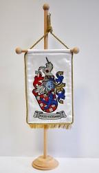 Beispiel für die Anfertigung eines persönlichen Wappens, bestickte Tischflagge