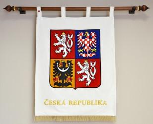 Großes besticktes festliches Staatswappen der Tschechischen Republik