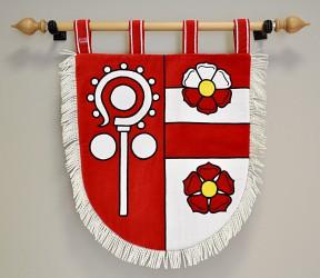 Besticktes Wappen in kleiner Ausführung der Gemeinde Čečovice