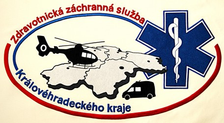Detail einer Fahnenstickerei, Rettungsdienst der Region Královéhradecký