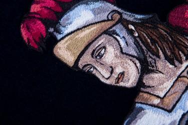 Detail výšivky, svatý Florián