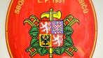Smaltovaný hasičský ovál se znakem SH ČMS a s velkým státním znakem, SDH Mělčany u Dobrušky